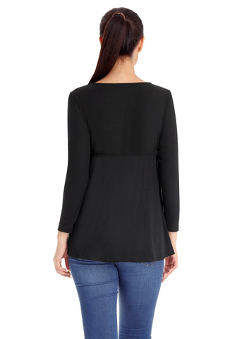 Black Ruched Ribbed Empire-Cut Top
