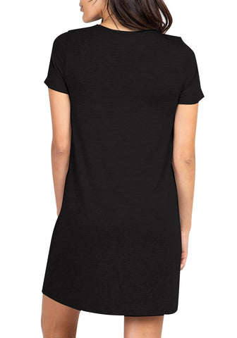 Black Scallop Lace-Trim V-Neck Night Dress