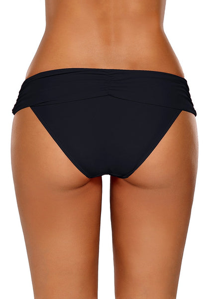 Back view of model wearing black shirred waistband swim bottom