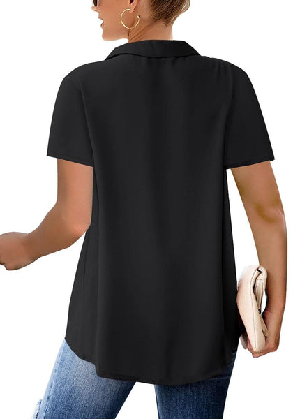 Back view of model wearing black short sleeve lapel collar surplice top