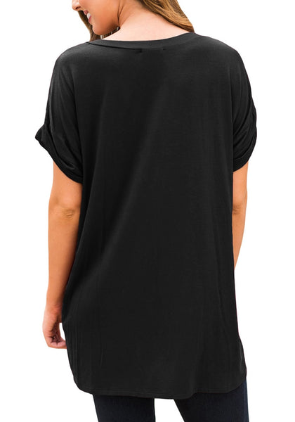 Back view of model wearing black short sleeves front pockets loose V-neck tee