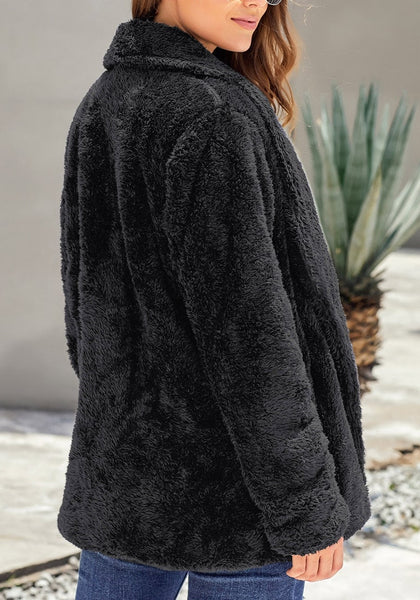 Back view of model wearing black side-pockets lapel fleece coat
