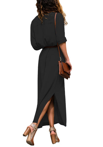 Black Side Slit Long Button-Up Shirt Dress