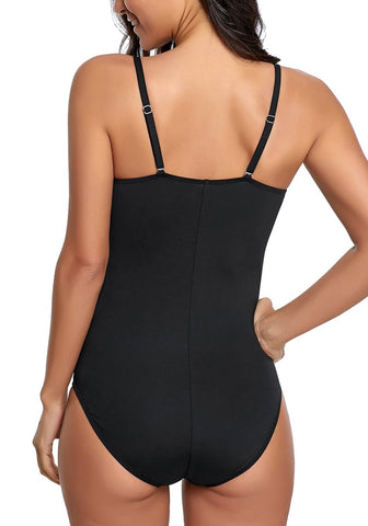 Black Square-Neck Shirred One-Piece Swimsuit