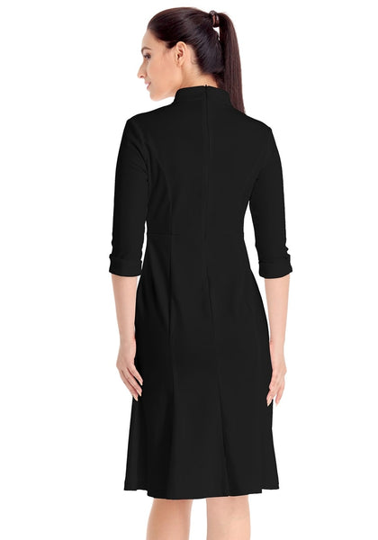 Back view of model wearing black stand collar crop sleeves dress
