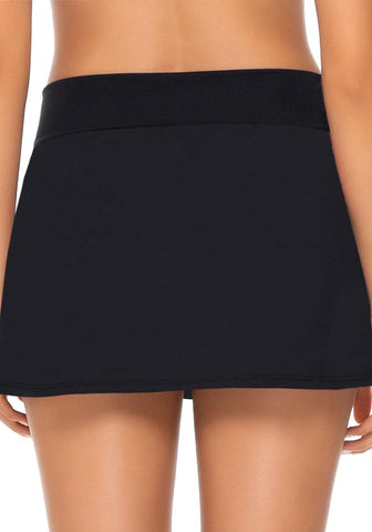 Black Surplice V-Front Ruched Swim Skirt