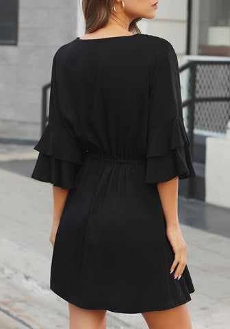 Black Tiered Bell Sleeves Button Down Drawstring Dress