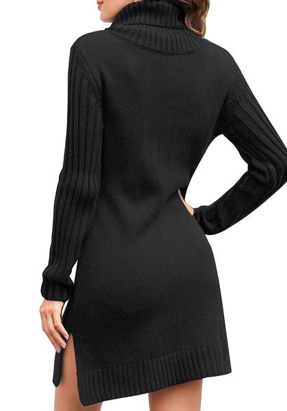 Back view of model wearing black turtleneck cable knit side slit pullover sweater dress