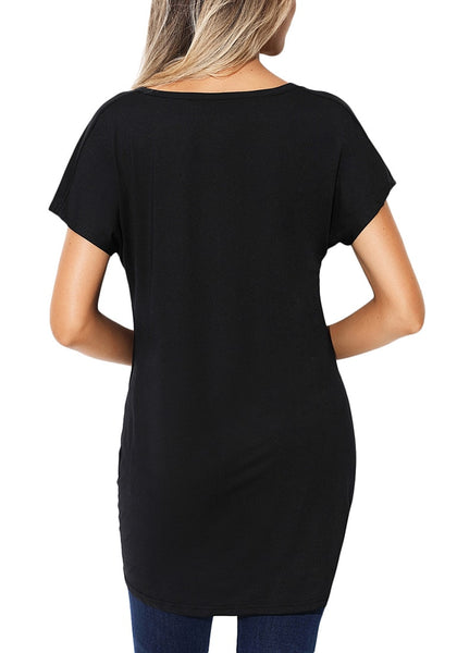 Back view of model wearing black twist-front high-low blouse