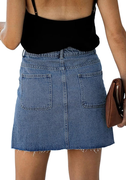 Back view of model wearing blue button-down denim mini skirt