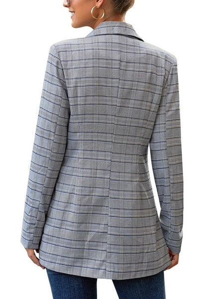 Back view of model wearing blue double-breasted flap pockets plaid lapel blazer