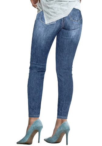 Blue Double Button Ripped Skinny Denim Jeans