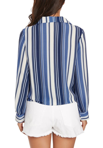 Back view of model wearing blue long sleeves tie front striped button-up top