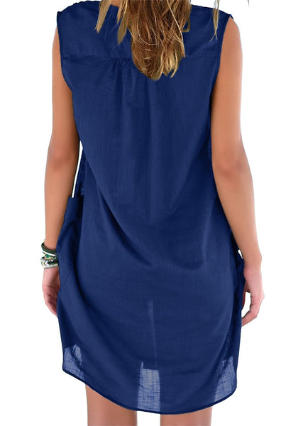 Back view of model wearing blue notched V-neck sleeveless beach cover-up