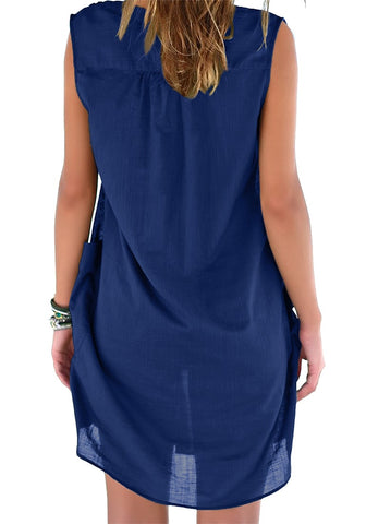 Blue Notched V-Neck Sleeveless Beach Cover-Up