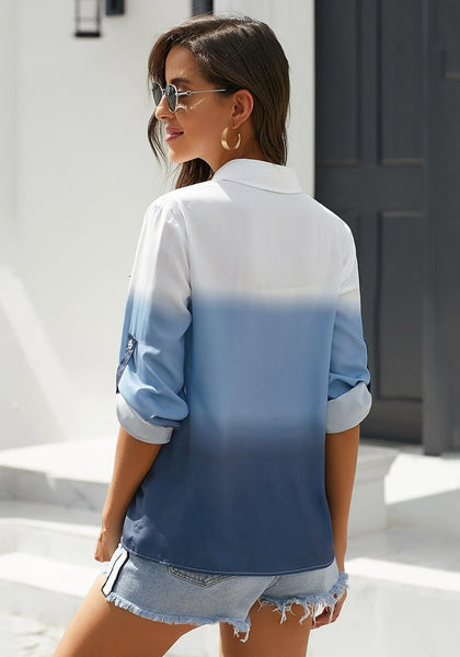 Back view of model wearing blue ombre long sleeves collared button-up shirt