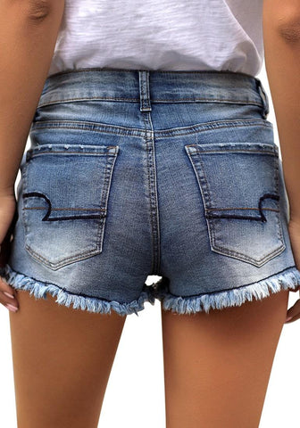 Blue Raw Hem Stars Pocket Out Ripped Denim Shorts