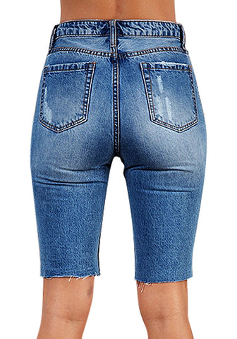 Blue Ripped Knee-Length Washed Jeans Shorts