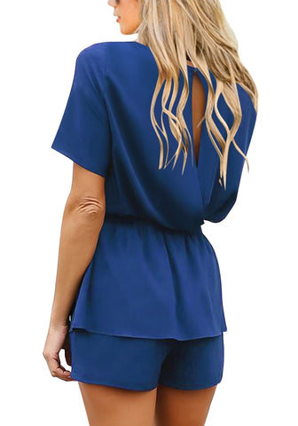 e3f6b7f916a Blue Short Sleeves Keyhole-Back Belted Romper ...