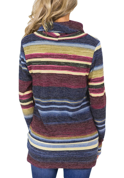 Back view of model wearing blue striped colorblock cowl neck drawstring pullover top