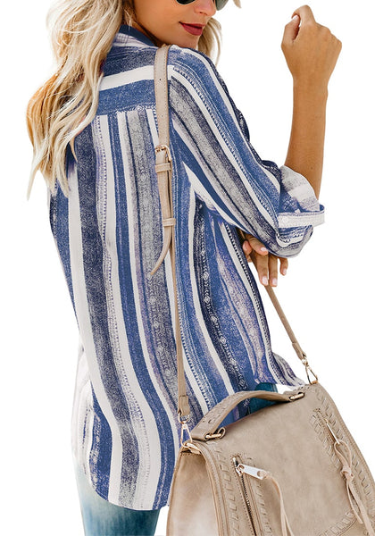 Back view of model wearing blue striped cuffed sleeves button-up top