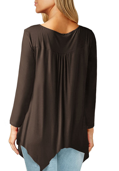 Back view of model wearing brown asymmetrical long sleeves loose henley tunic top