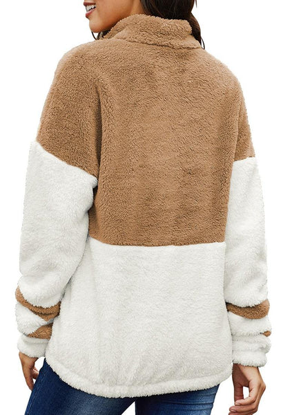 Back view of model wearing brown colorblock half-zip fuzzy fleece pullover