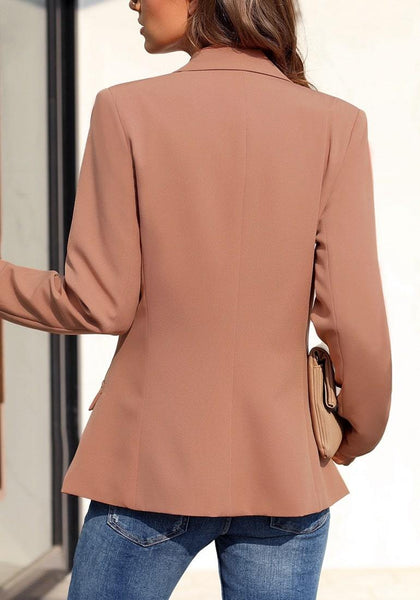 Back view of model wearing brown notch lapel striped lining double-breasted blazer