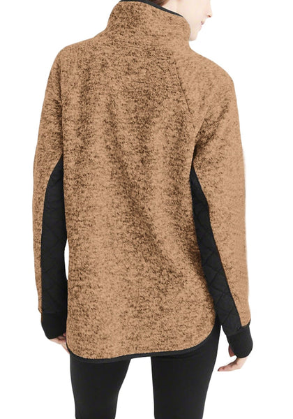 Back view of model wearing brown oblique button neck splice quilted fleece pullover