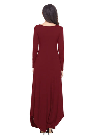 Burgundy T-Front Long Sleeves Shift Maxi Dress