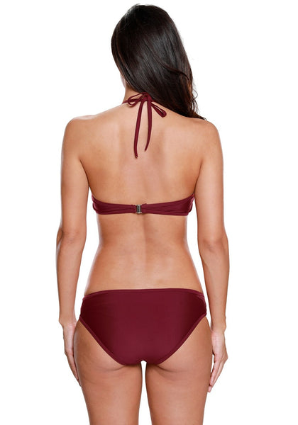 Back view of model wearing burgundy high neck halter bikini set