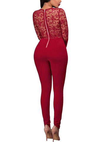Burgundy Long Sleeves Lace Jumpsuit