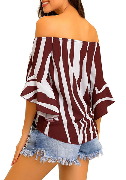 Back view of model wearing burgundy striped flare sleeves tie-front off-shoulder top