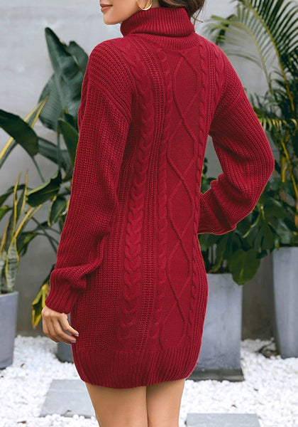 Back view of model wearing burgundy turtleneck cable knit pullover sweater dress