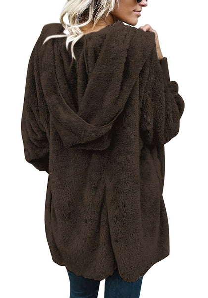 Back view of model wearing coffee snuggle fleece oversized hooded cardigan