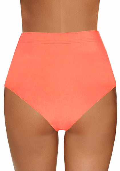 Back view of model wearing coral fishnet panel tassel high-waist bikini bottom