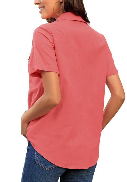 Back view of model wearing coral pink short sleeves lapel button-up blouse