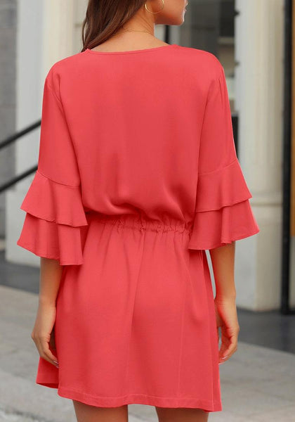 Back view of model wearing coral tiered bell sleeves button down drawstring dress