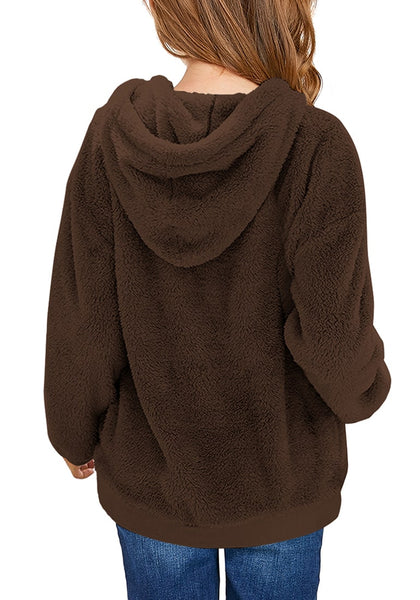 Back view of model wearing dark brown light grey fuzzy fleece hooded girl's sweater