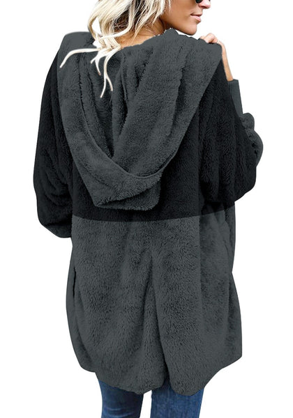 Back view of model wearing dark grey color block hooded fleece cardigan