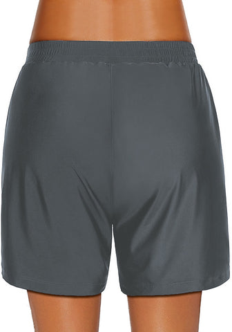 Dark Grey Lace-Up Board Shorts