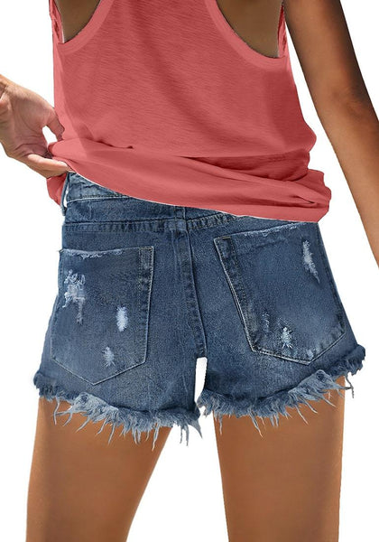 Back view of model wearing deep blue frayed raw hem ripped denim shorts