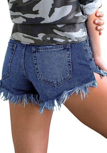 Back view of model wearing deep blue raw hem distressed high-waist buttons jeans shorts