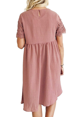 Deep Blush Hollow Out Lace Keyhole-Back Shift Dress