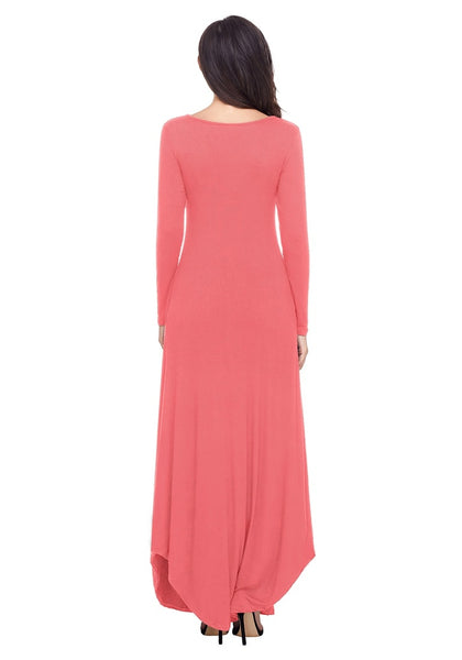 Back view of model wearing dusty coral T-front long sleeves maxi dress