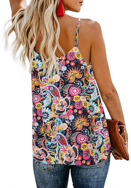 Back view of model wearing floral V-neck button-down loose tank top.