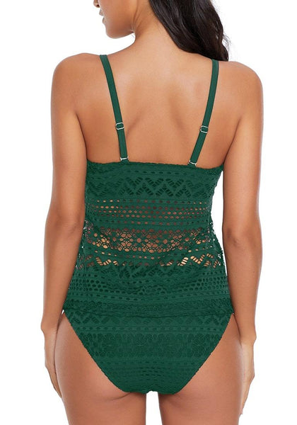 Back view of model wearing green lace crochet plunge neck tankini set