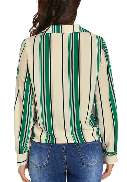 Back view of model wearing green long sleeves tie front striped button-up top