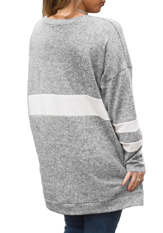 Grey V-Neck Long Sleeves Color Block Pullover Tunic