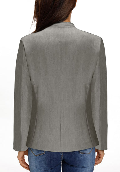 Back view of model wearing grey V-neckline single button blazer